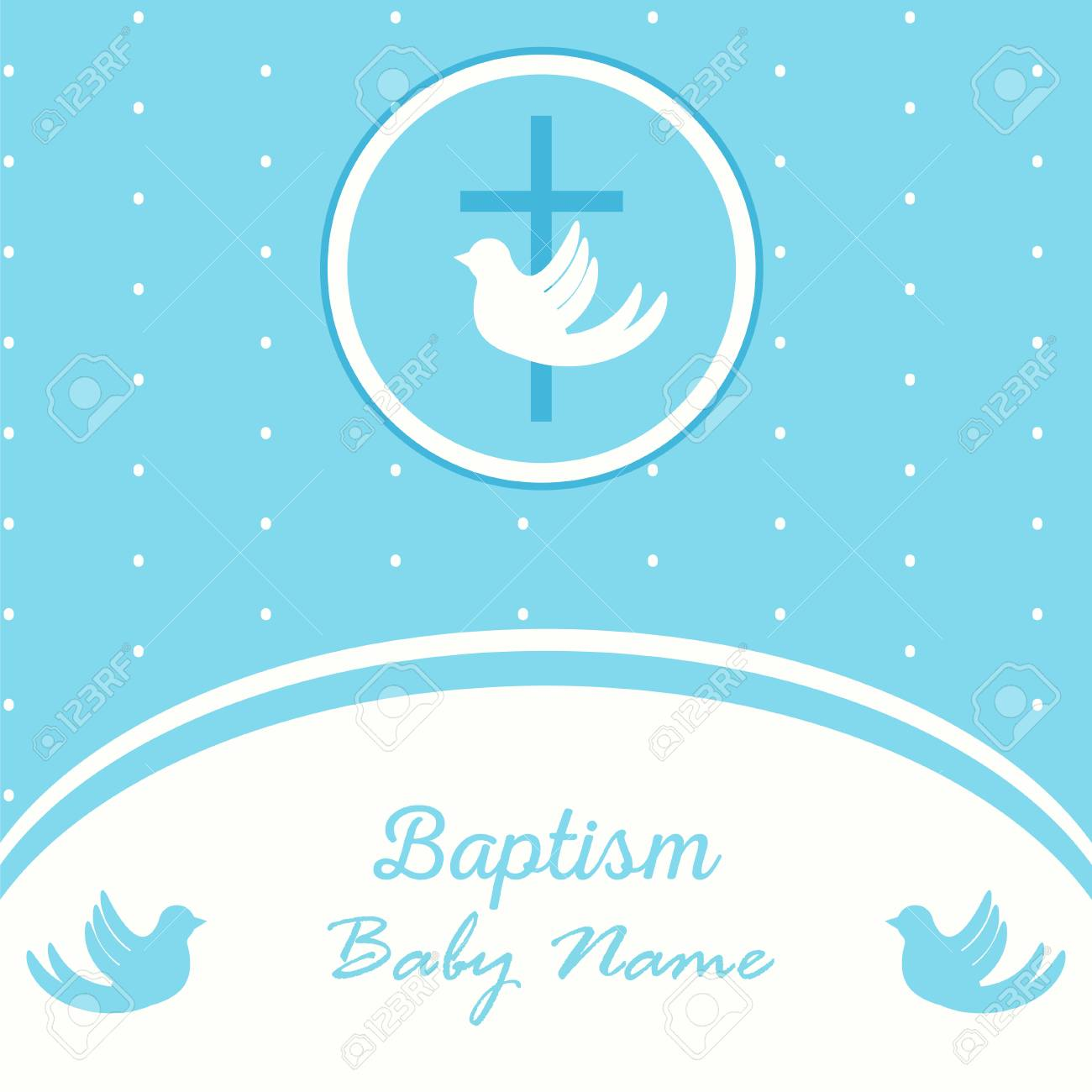 Baptism Invitation Card Template Stock Vector Illustration For