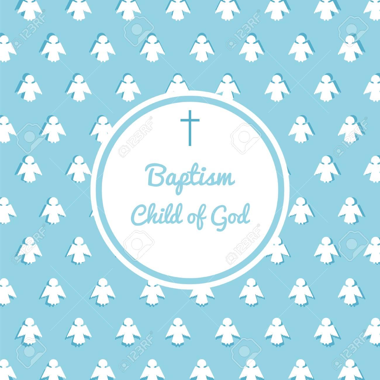 Baptism Invitation Card Template Stock Vector Illustration For