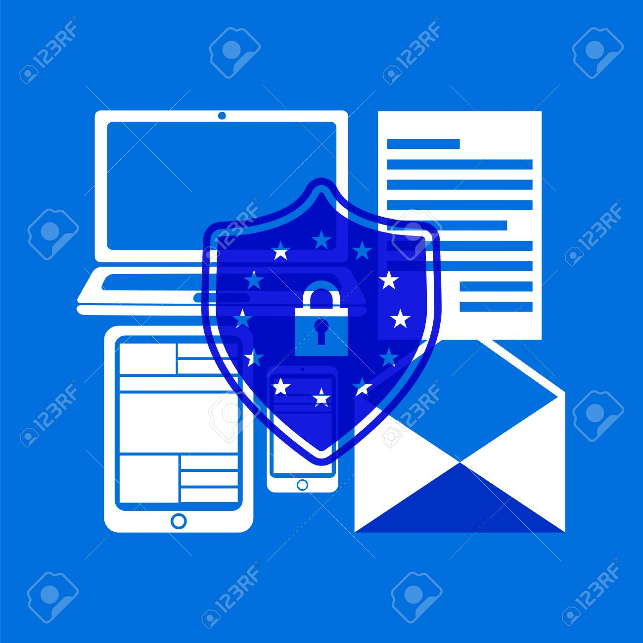 GDPR concept. Stock vector illustration of padlock with EU flag stars protecting different private information on computer and phone screens for General Data Protection Regulation. - 92810604