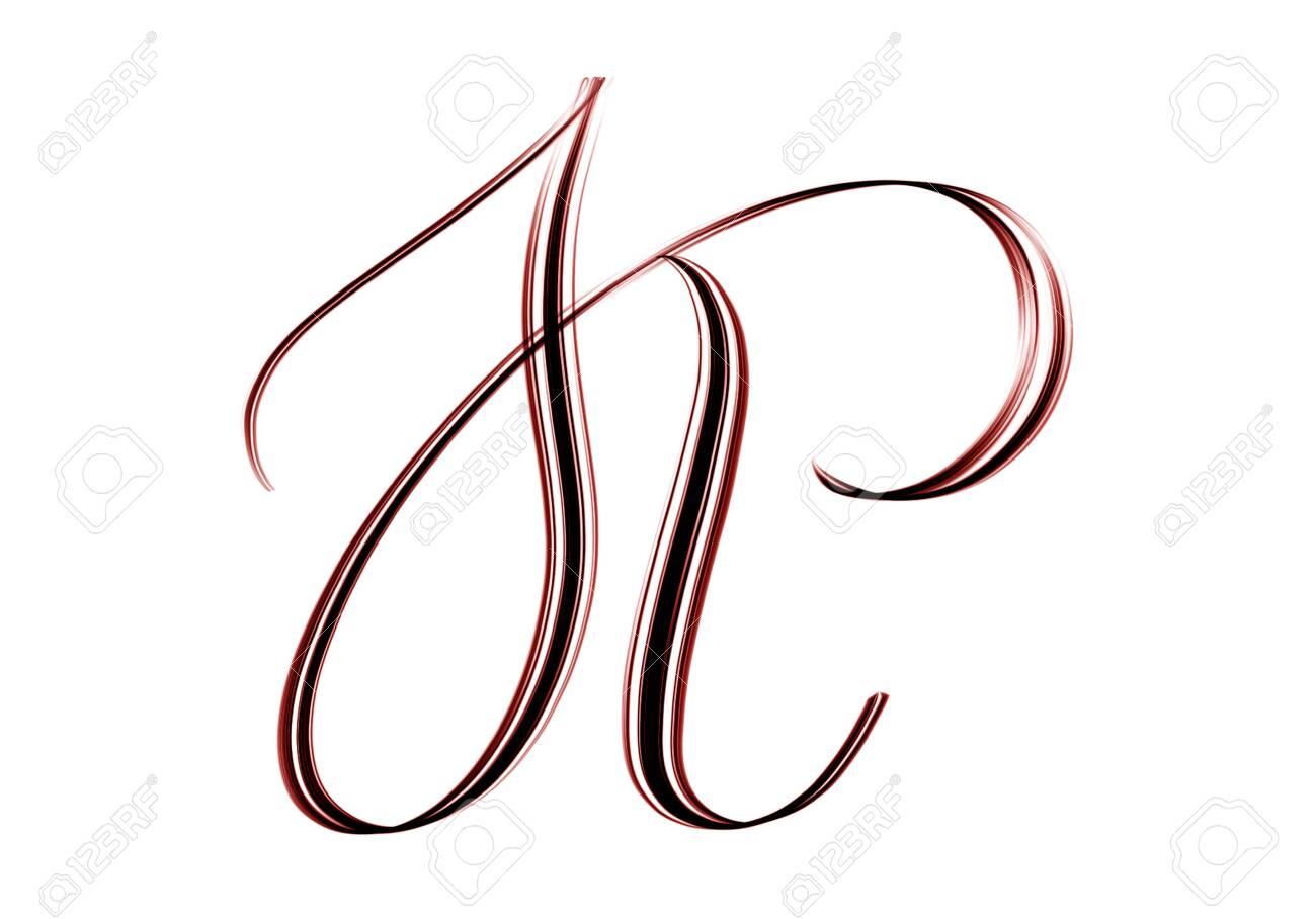 K Elegant Script Capital Letter Hand Drawn Isolated On White