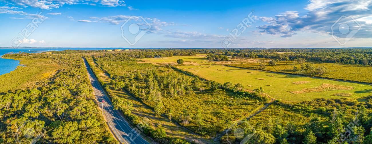 Aerial panorama of beautiful farmland in Victoria, Australia - 144524300