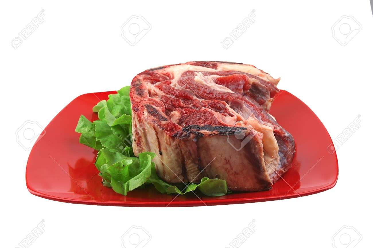 asado meat on red dish ready to prepare Stock Photo - 4502417