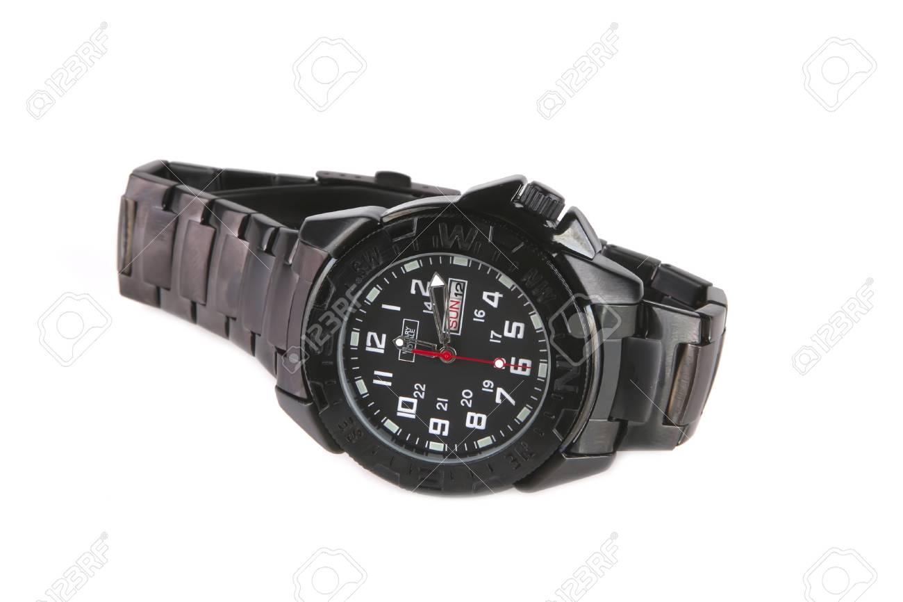 single male black watches over white background Stock Photo - 6040550