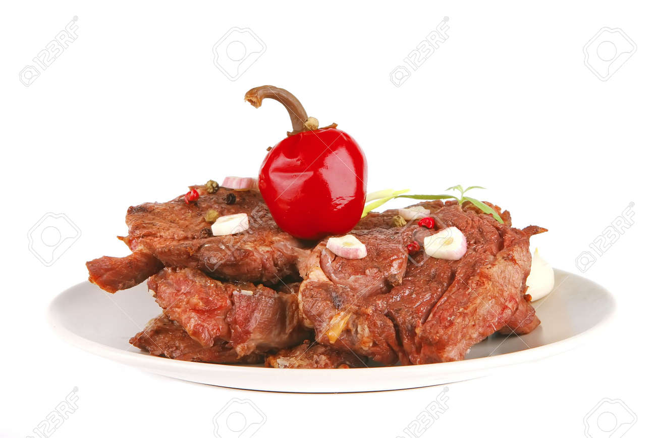 beef chunk served on dish with red pepper Stock Photo - 6079143
