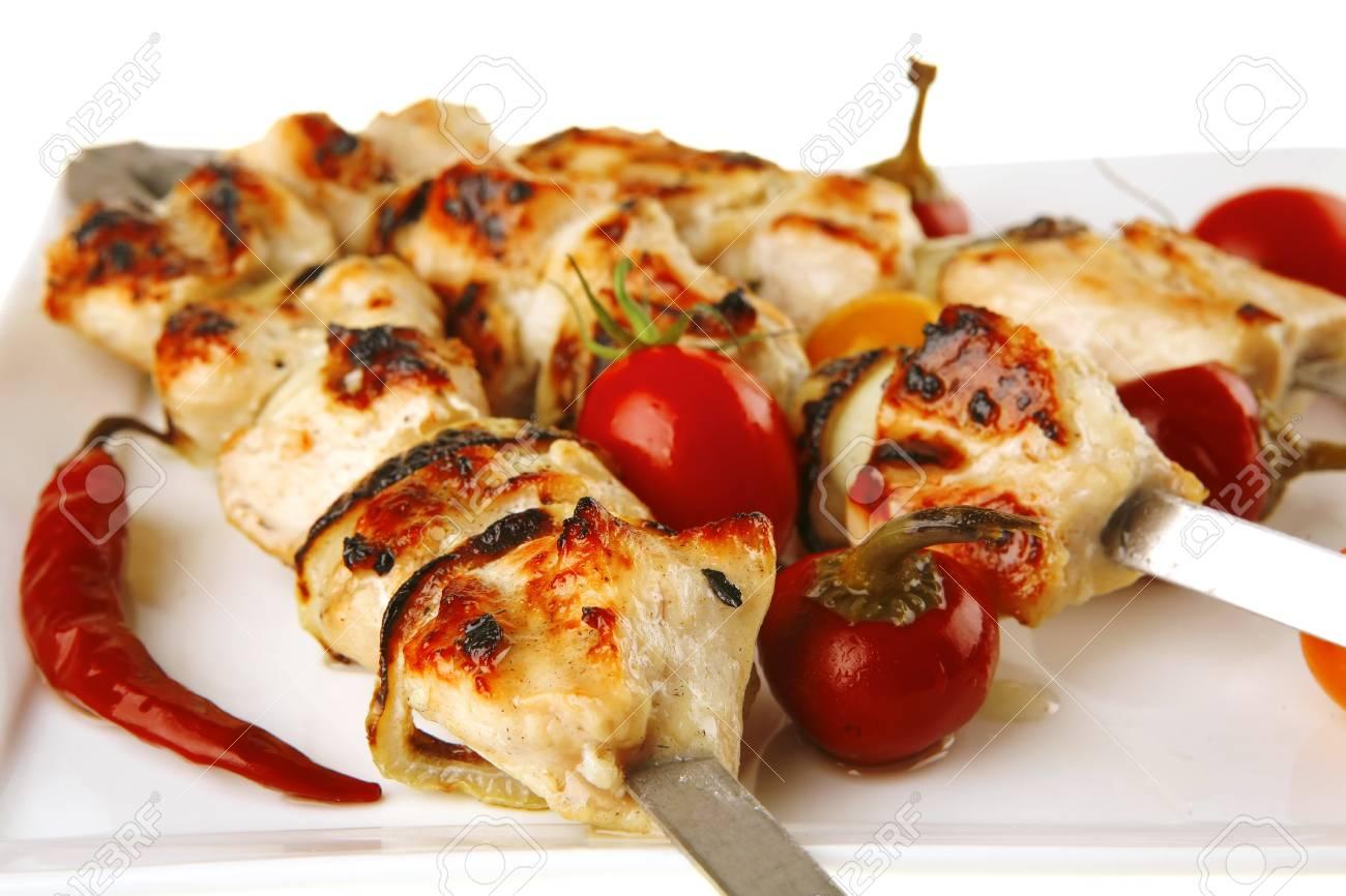 fresh roast chicken shish kebab on white platter Stock Photo - 7221766