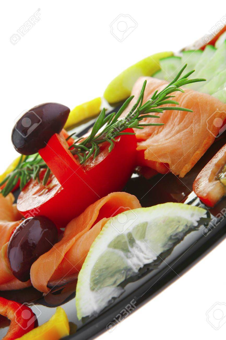 image of served salmon slices with tomatoes and peppers - 7255476