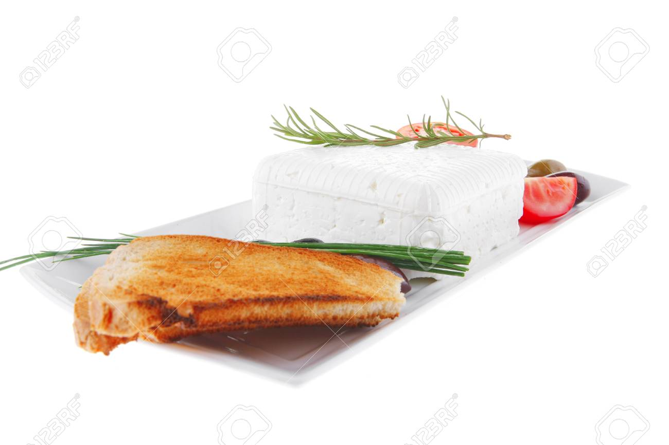 image of soft feta cube and bread toast on plate Stock Photo - 7270107