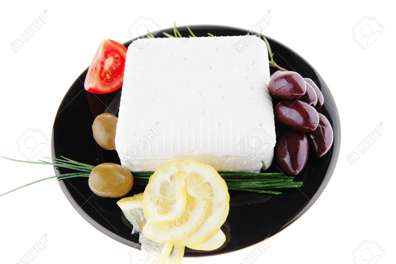 image of soft feta cheese on black Stock Photo - 7592005