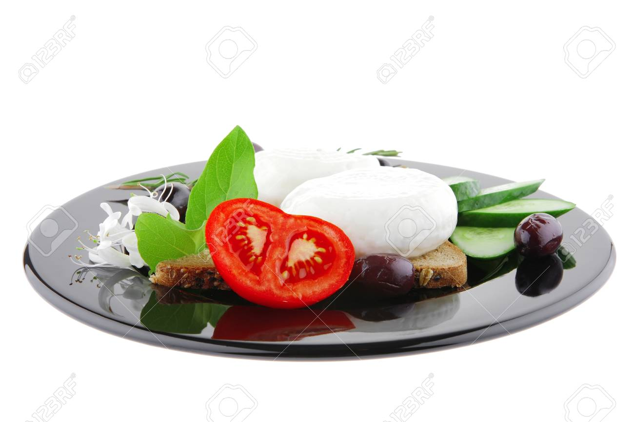 light cheese with vegetables on bread over white Stock Photo - 7643335