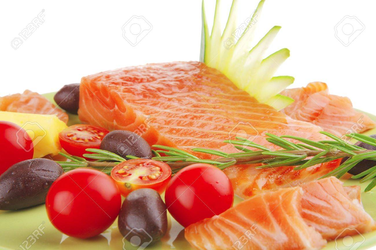fresh smoked salmon fillet with vegetables and rosemary Stock Photo - 7643539