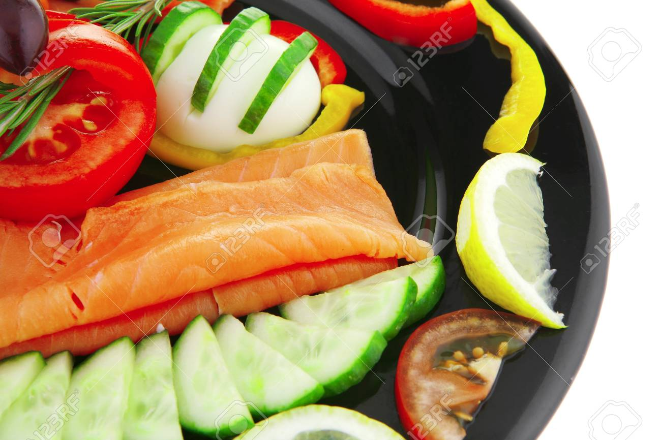 image of served salmon slices and vegetables - 7662663