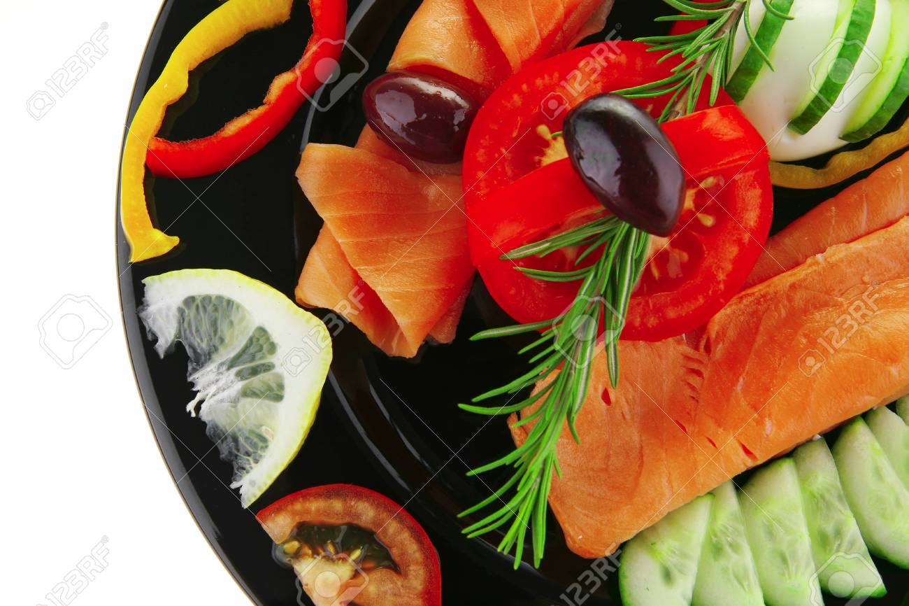 image of served salmon slices with tomatoes and peppers - 8051940