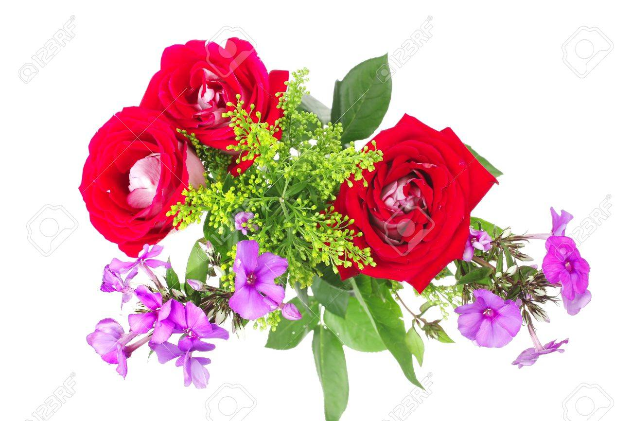 flowers : big bouquet of rose and pansy flowers with green grass isolated over white background Stock Photo - 9082453