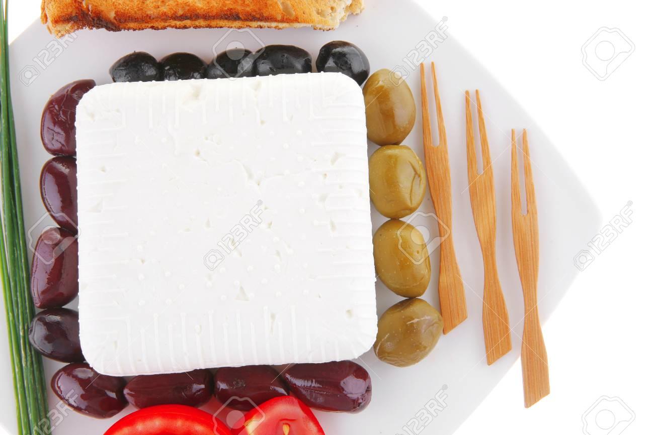 image of feta cheese on white plate Stock Photo - 10276818