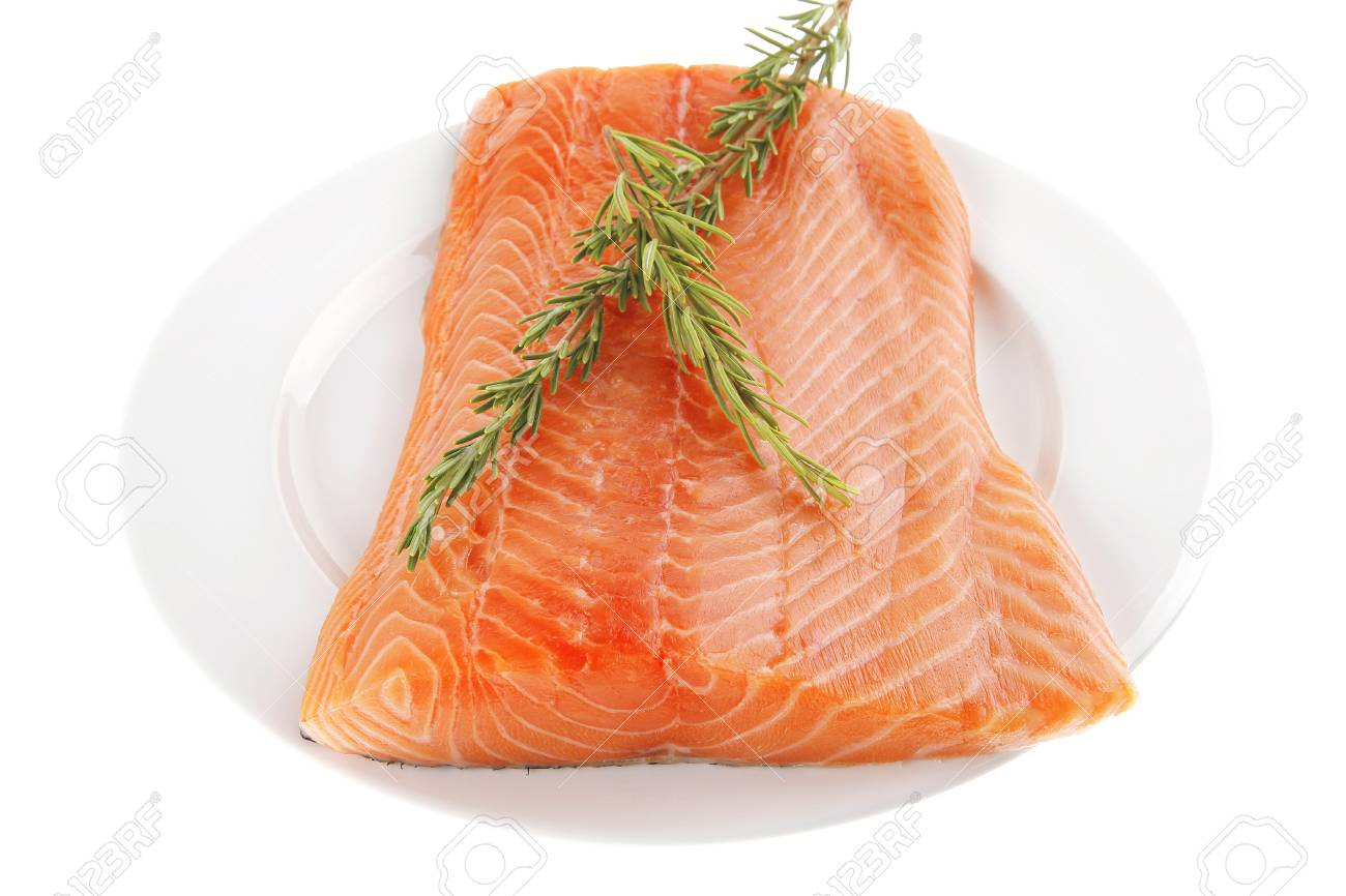 fresh uncooked salmon fillet with rosemary on white Stock Photo - 10389388