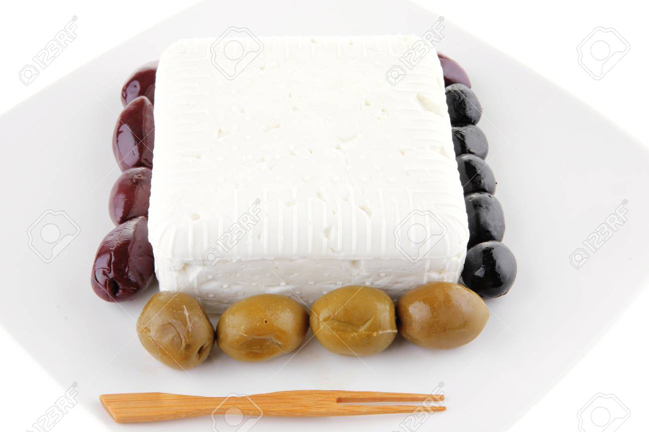 image of feta cheese cube on white plate Stock Photo - 10496037