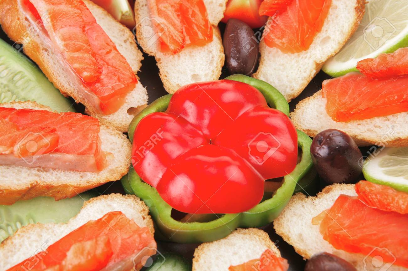 olives salmon and pepper served on dish Stock Photo - 11472927