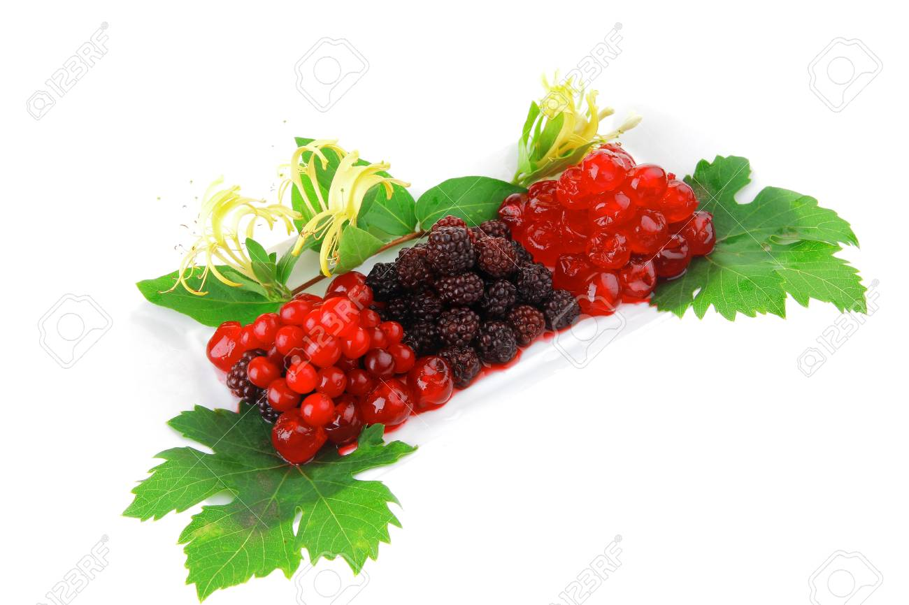 sweet wild served berry's on white dessert plate Stock Photo - 13145855