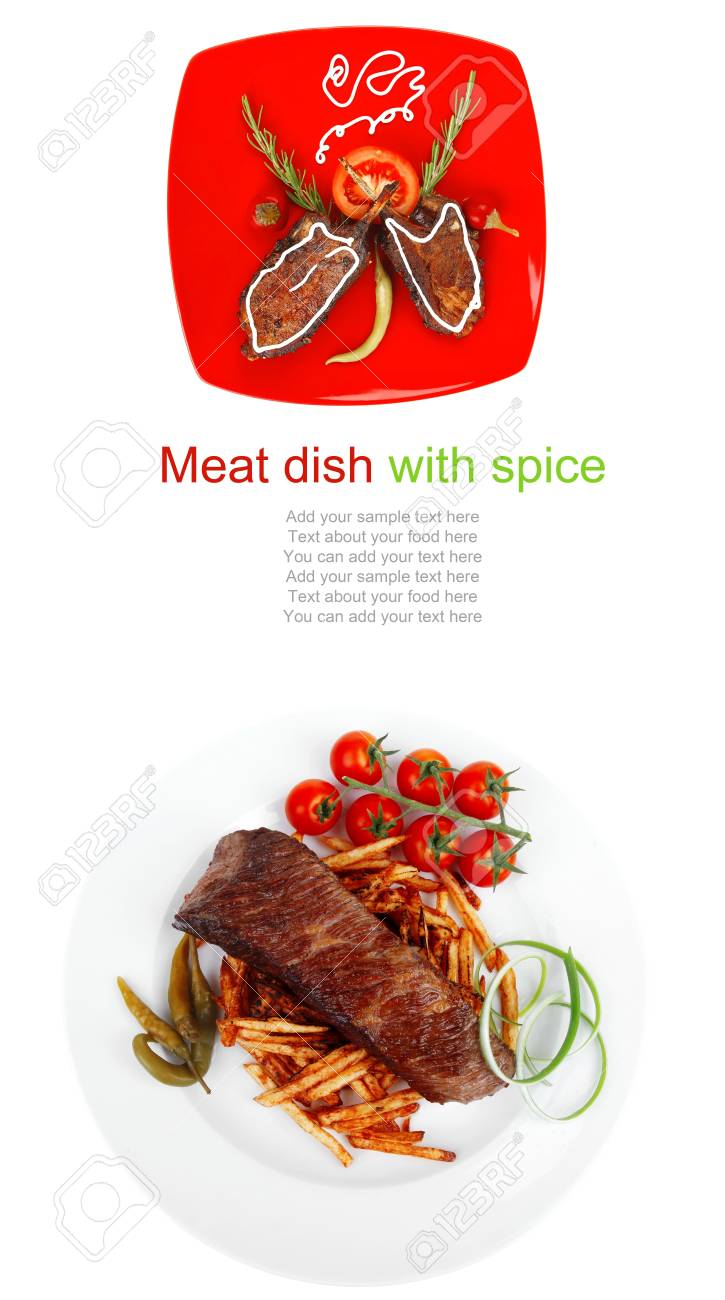 savory plate: grilled ribs over red with peppers and rosemary Stock Photo - 13978644