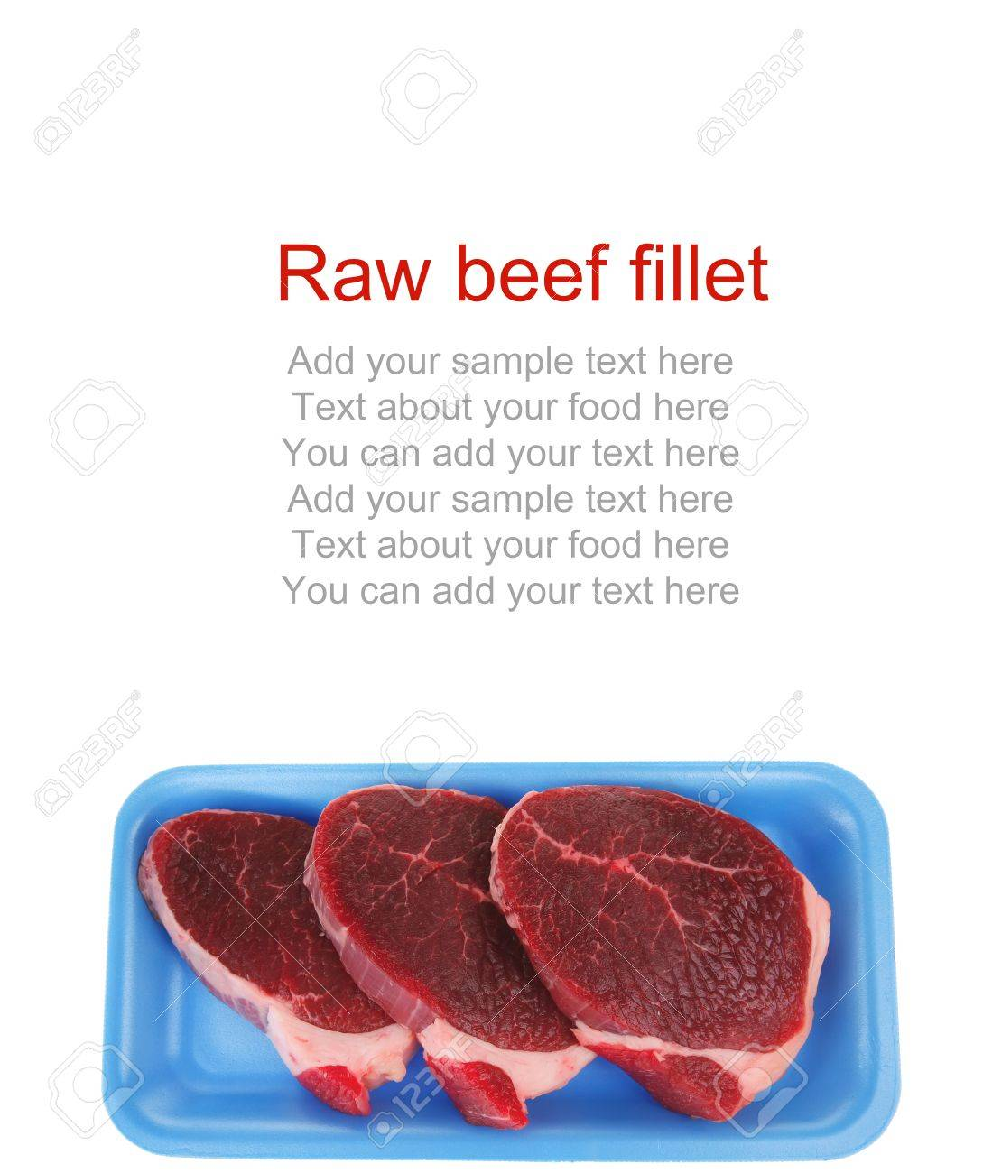 butchery : fresh raw beef lamb big fillet mignon ready to cooking on blue tray isolated over white background Stock Photo - 14944433
