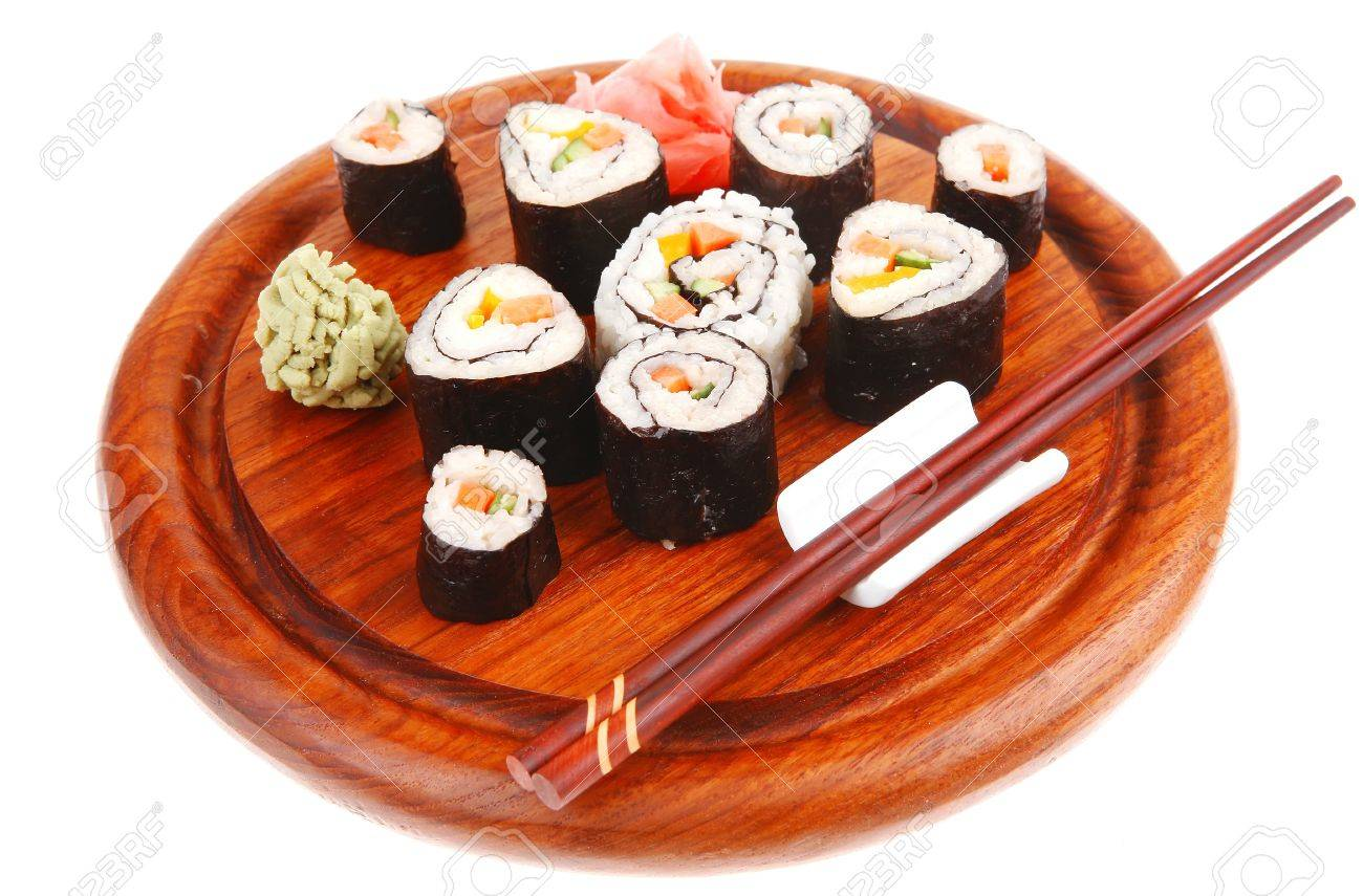 Maki Sushi : Maki Rolls and California rolls made of fresh raw Salmon(sake), Tuna(maguro) and Eel(unagi) . on wooden plate with wasabi and ginger isolated over white background Stock Photo - 16989876