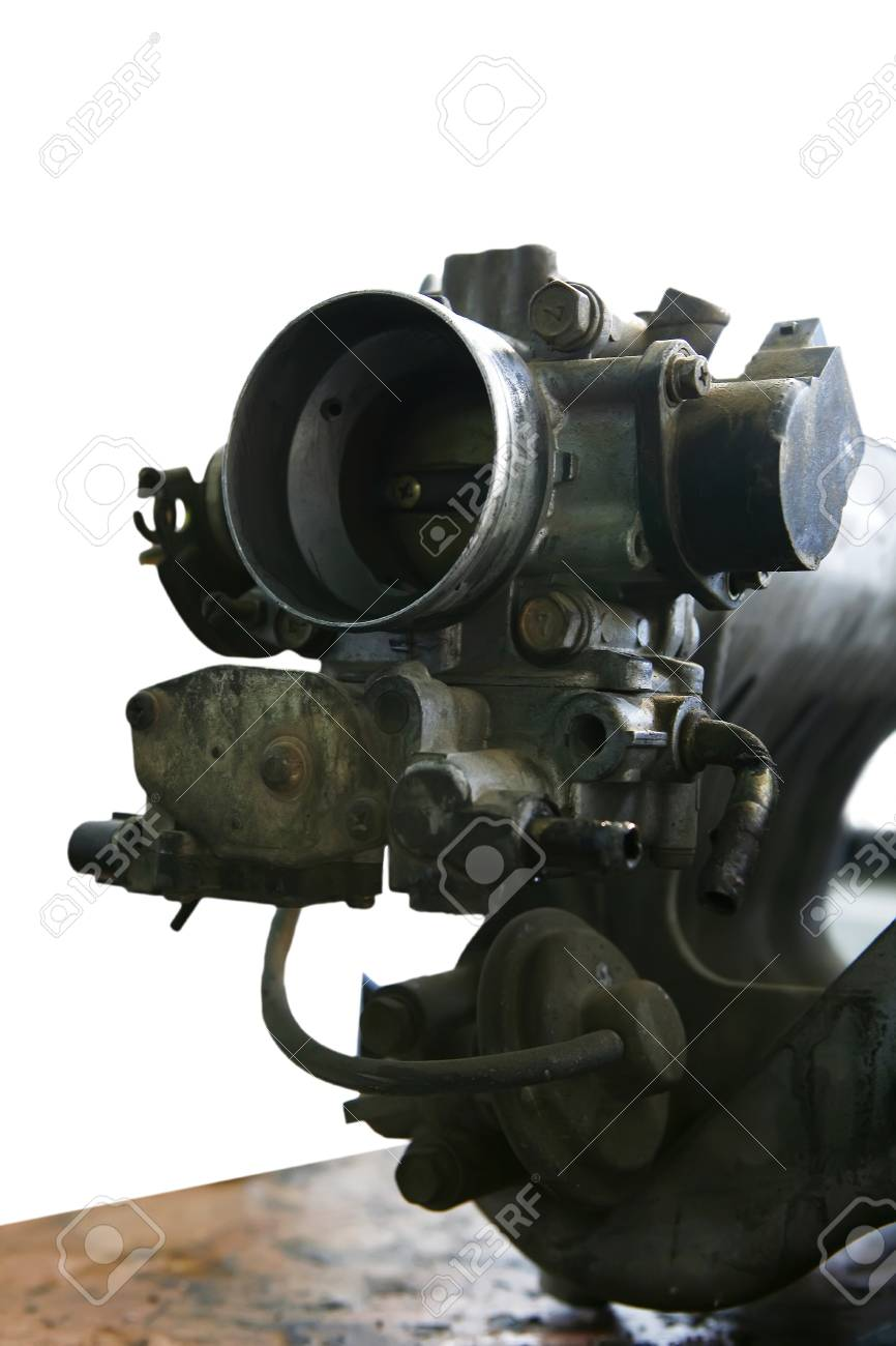 car engine inside view isolated over white Stock Photo - 16989605