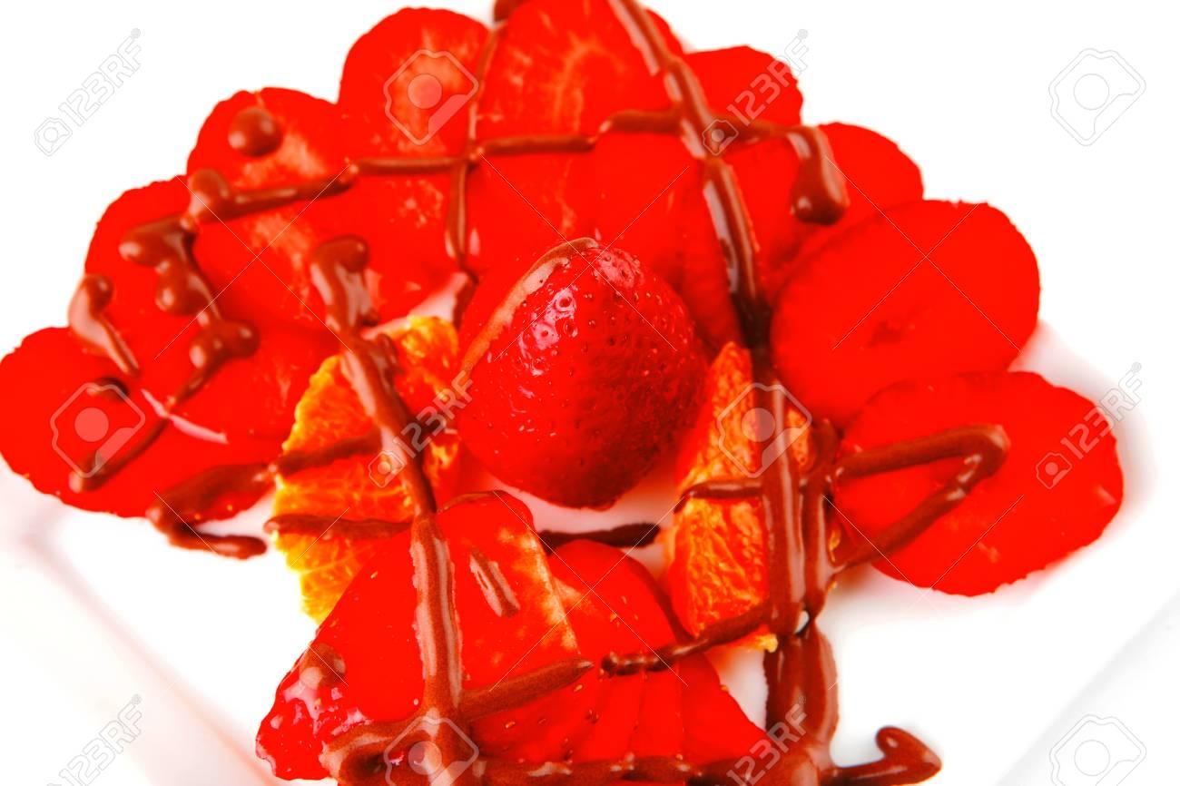 strawberry fruit salad isolated on white plate Stock Photo - 17460187