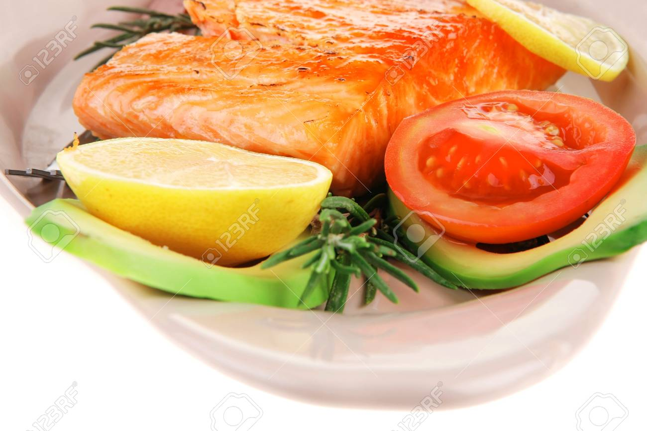 served fish: roast salmon fish over glass plate isolated over white background Stock Photo - 18228491