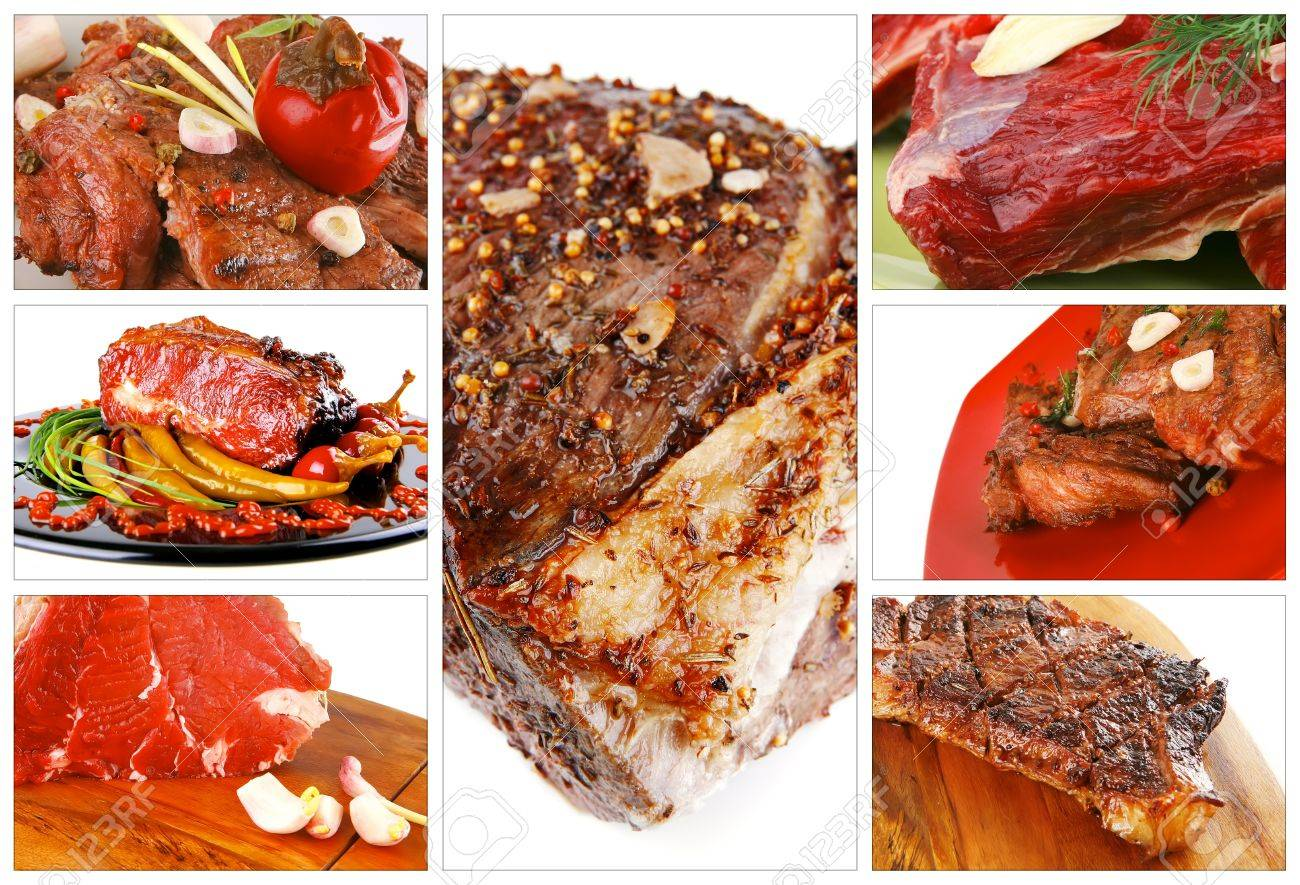 different raw and roasted beef meats on white Stock Photo - 21876961