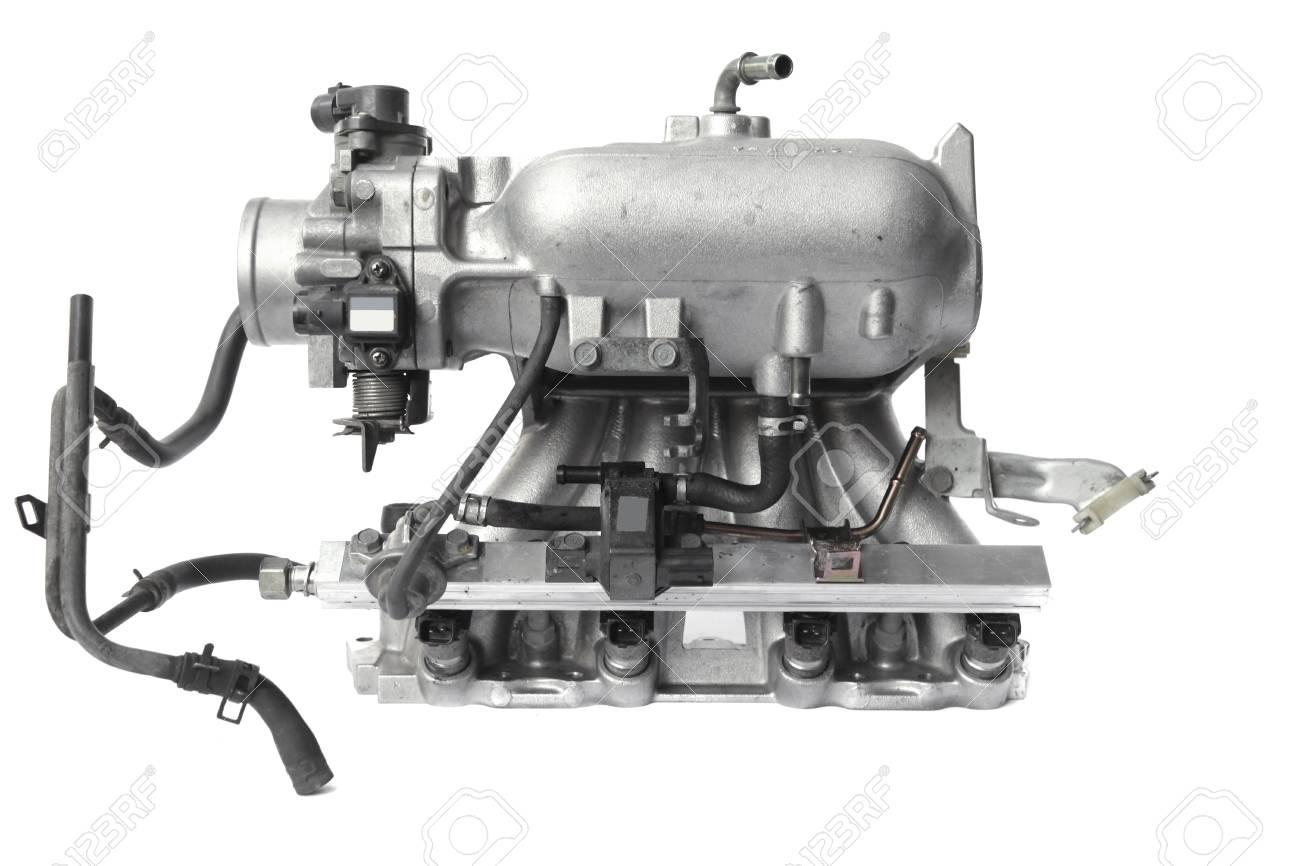 Echt Gebrauchtes Auto Motor Motorteil Isoliert Auf Weißem ...