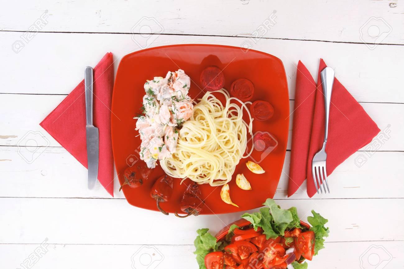 Mediterranean Cuisine Fresh Rose Wild Salmon Baked In Cream Stock