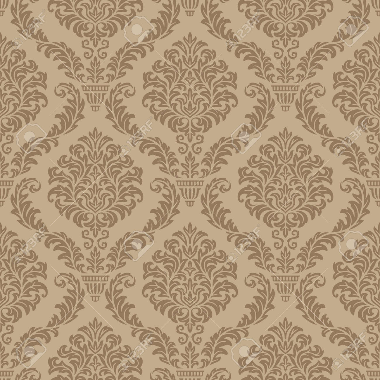 Seamless Damask Wallpaper Royalty Free Cliparts Vectors And Stock