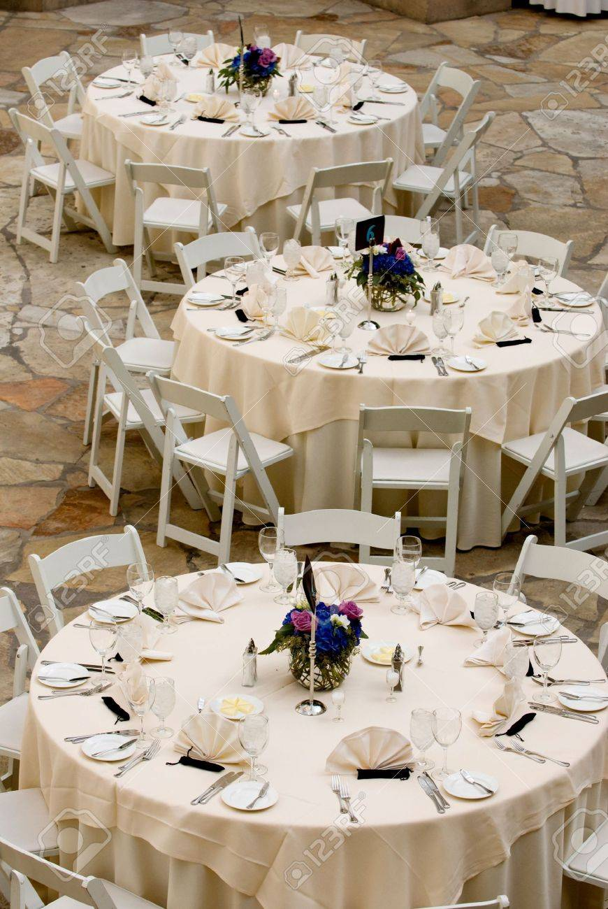 image of tables set for an event party or wedding reception stock  - stock photo  image of tables set for an event party or wedding reception