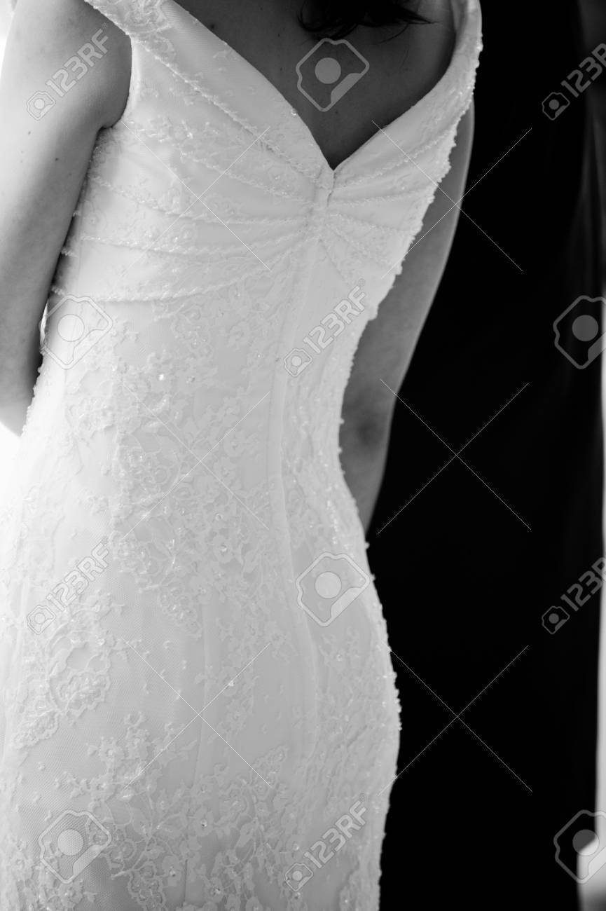 A black and white image of a bride in her gown Stock Photo - 3275502
