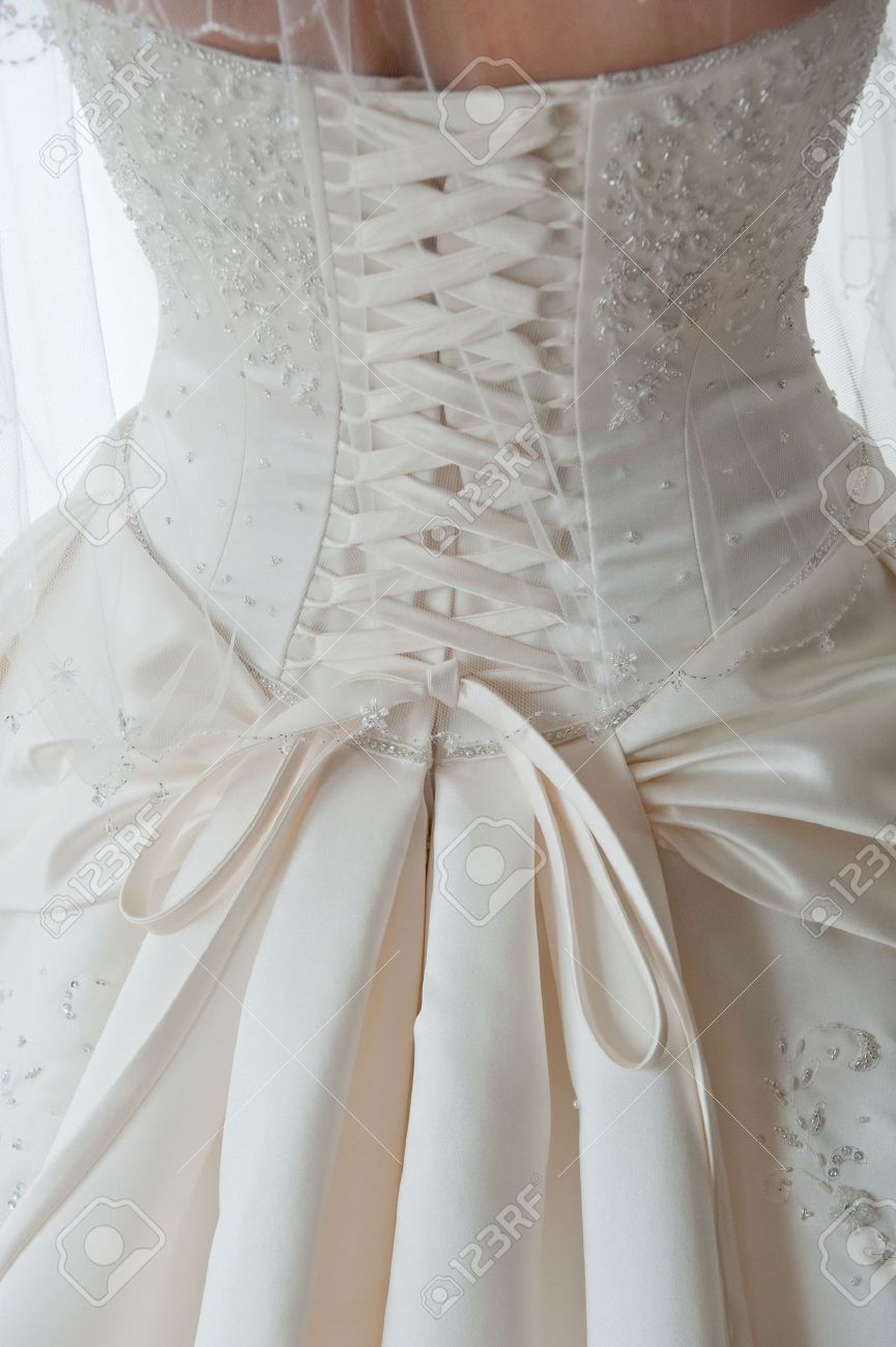 Close-up Image Of The Detailed Laces On The Back Of A Wedding ...