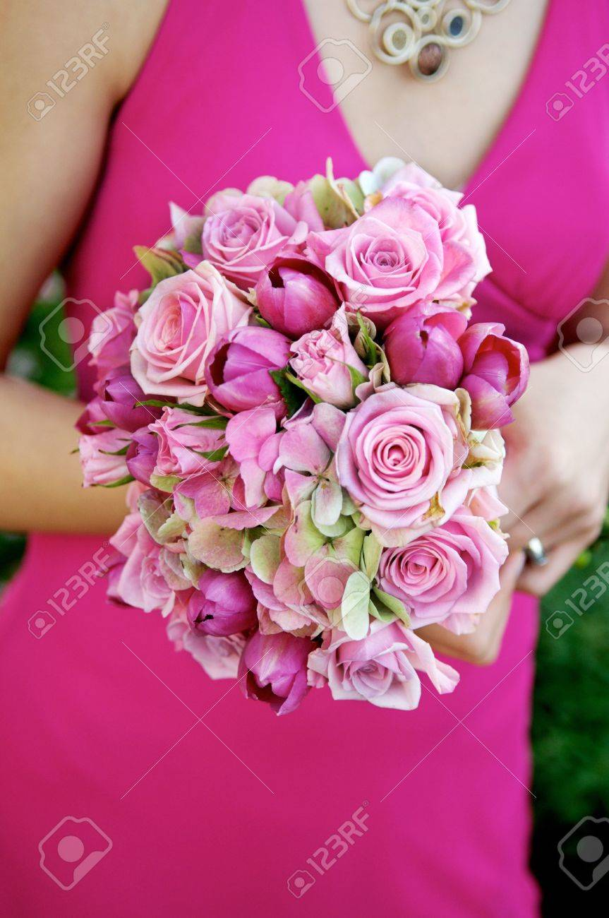 Image Of A Bridesmaid In A Pink Dress Holding A Pink Bouquet Stock Photo Picture And Royalty Free Image Image 6218750