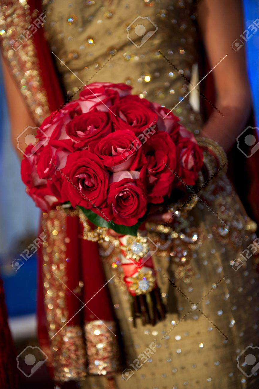 Image Of A Beautiful Indian Brides Bouquet During Wedding Stock
