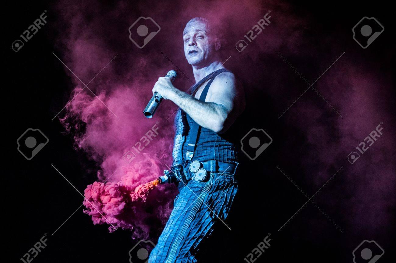 German industrial metal band Rammstein performing at Olimpiyski