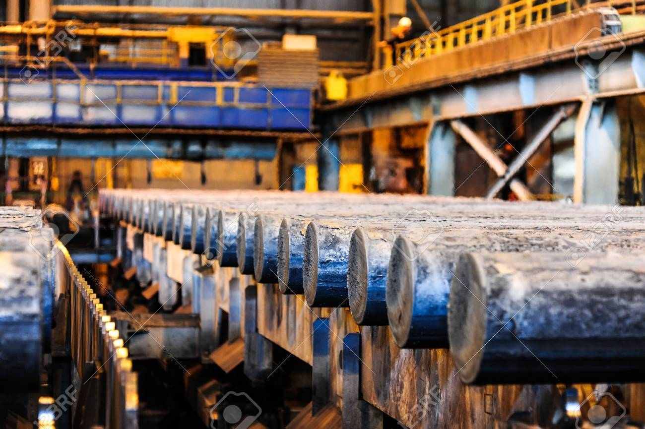 Steel rods in smelting plant Stock Photo - 24043076