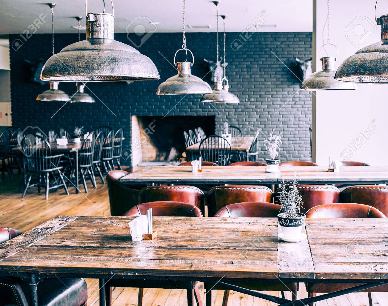 Interior Of Modern Restaurant Picture Toned In Retro Style Stock Photo Picture And Royalty Free Image Image 28240381