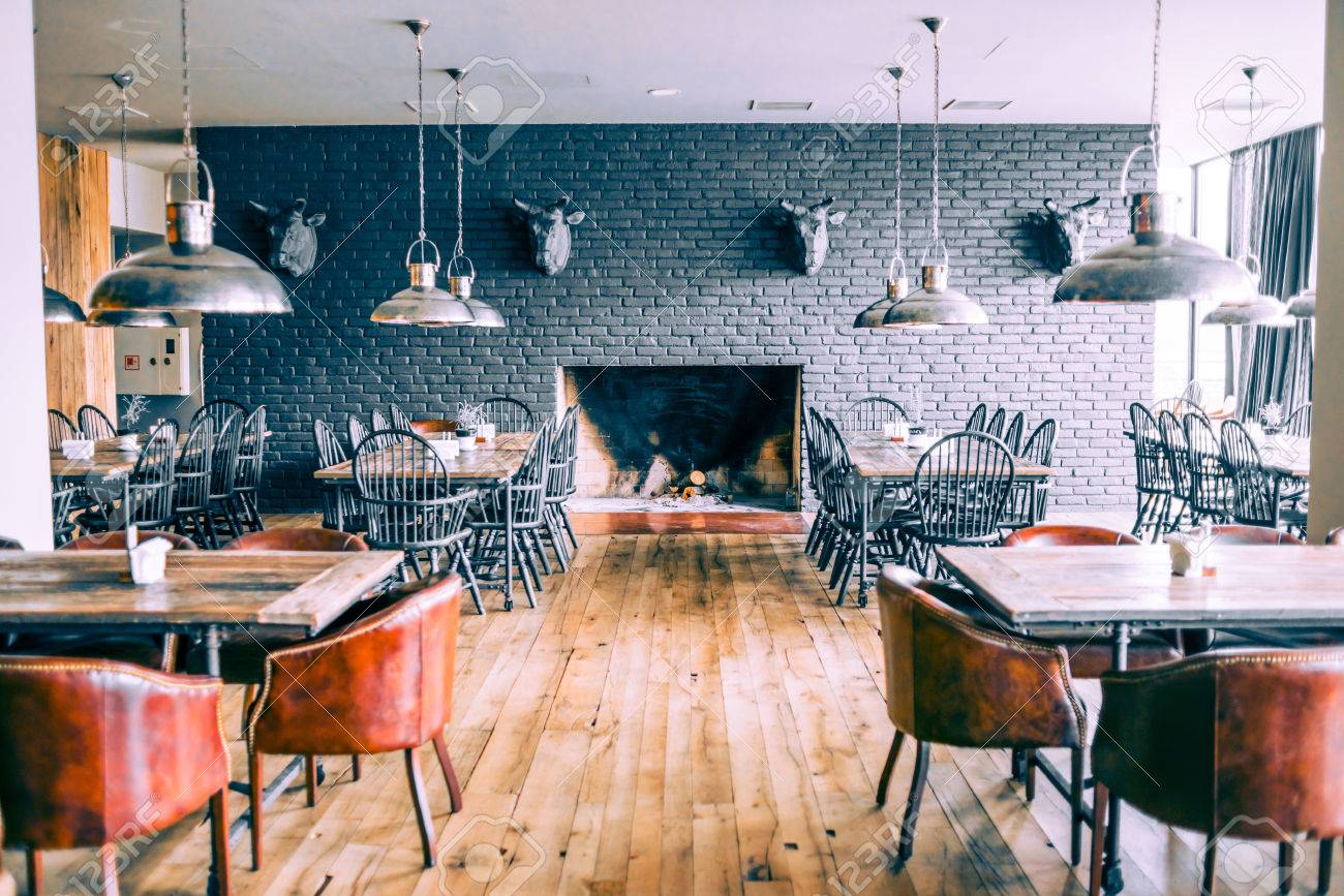 Interior Of Modern Restaurant Picture Toned In Retro Style Stock Photo Picture And Royalty Free Image Image 28240387