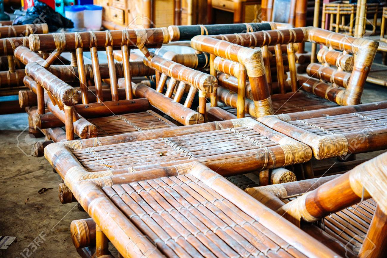 Stock Photo   View Of Bamboo Workshop Where Bamboo Furniture Is Made