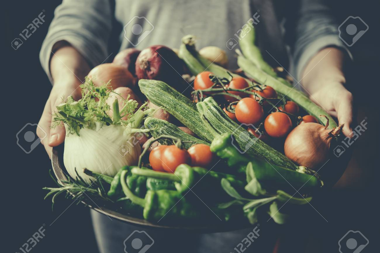 Hands holding big plate with different fresh farm vegetables. Autumn harvest and healthy organic food concept. Toned picture - 58513463