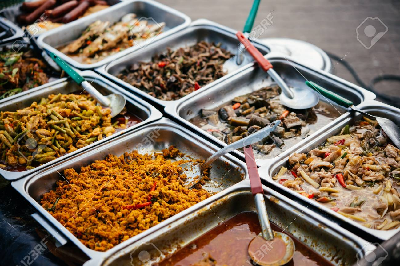 Different thai street food on sale at one of the markets at Koh Samui, Thailand - 58622579