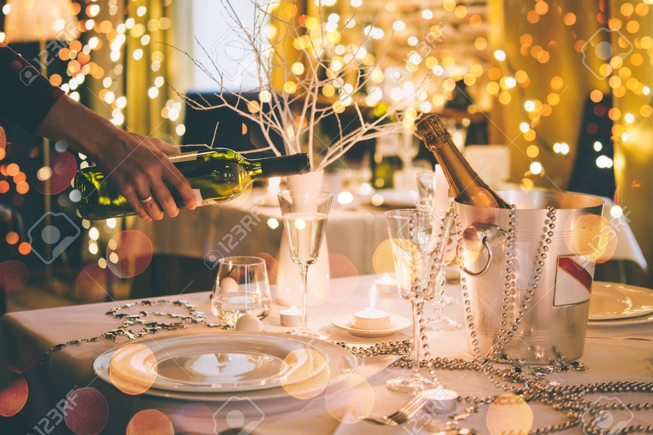 Christmas Or New Year Party Table In A Restaurant Or Cafe Toned Stock Photo Picture And Royalty Free Image Image 69677411