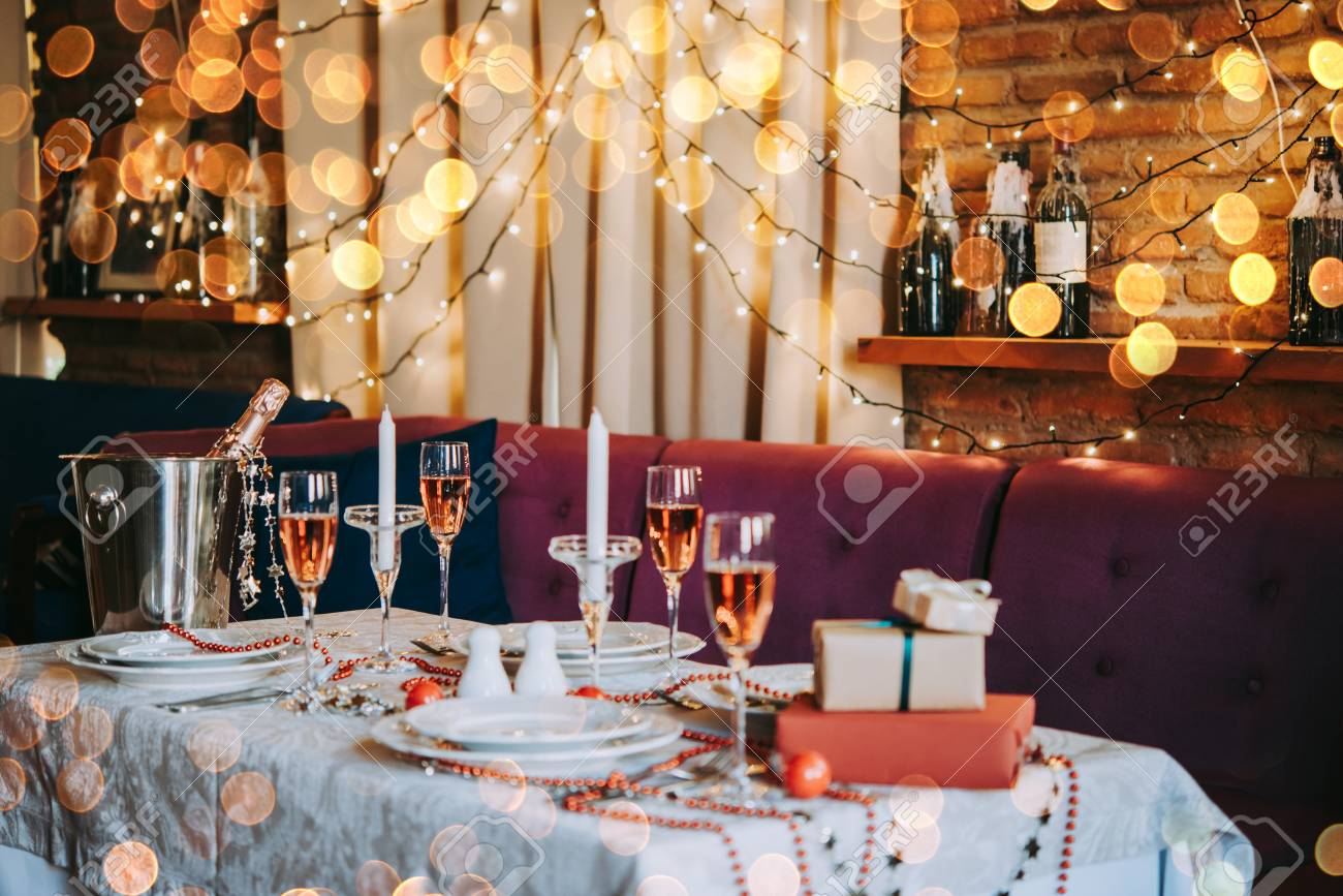 Christmas Or New Year Party Table In A Restaurant Or Cafe Stock Photo Picture And Royalty Free Image Image 90070930