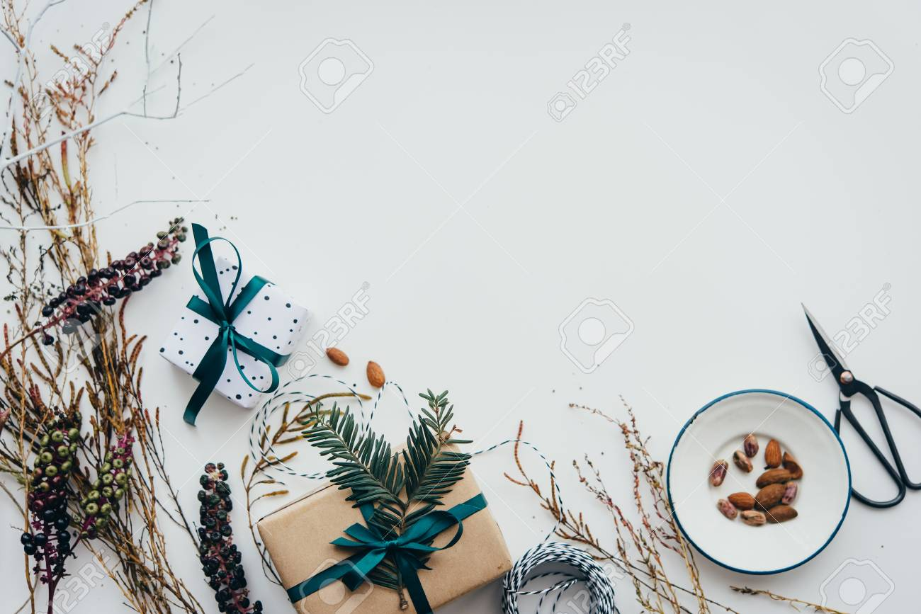 Christmas or New year gift packing. Holiday decor concept. Top view with copy space - 89858651