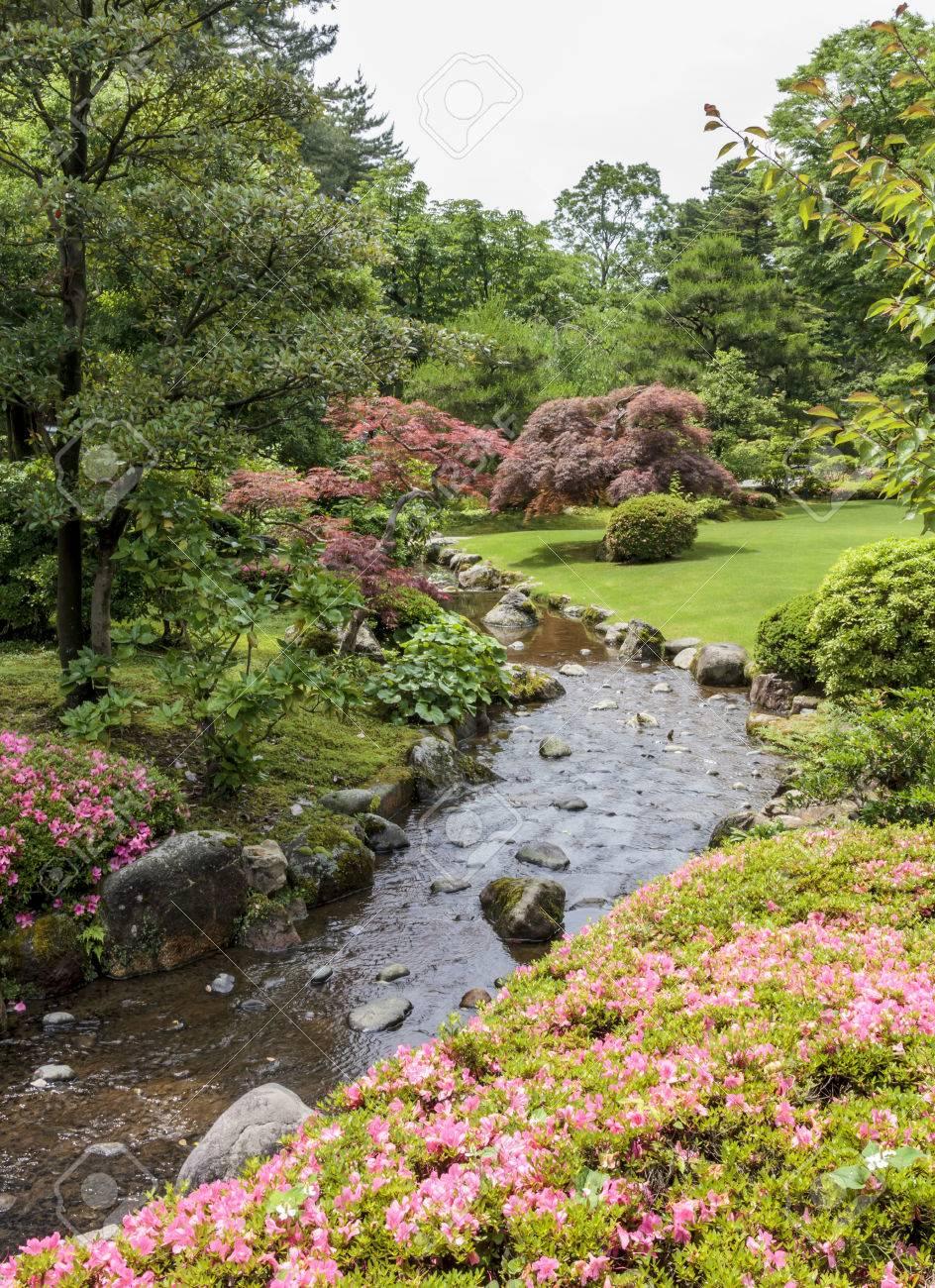 fragment d'un jardin japonais avec ruisseau, fleurs roses et d