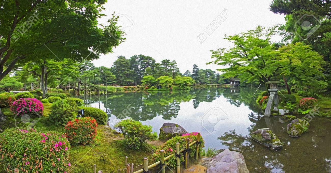 Photo Panoramique D\'un Jardin Japonais Avec Des Fleurs, Des Arbres ...