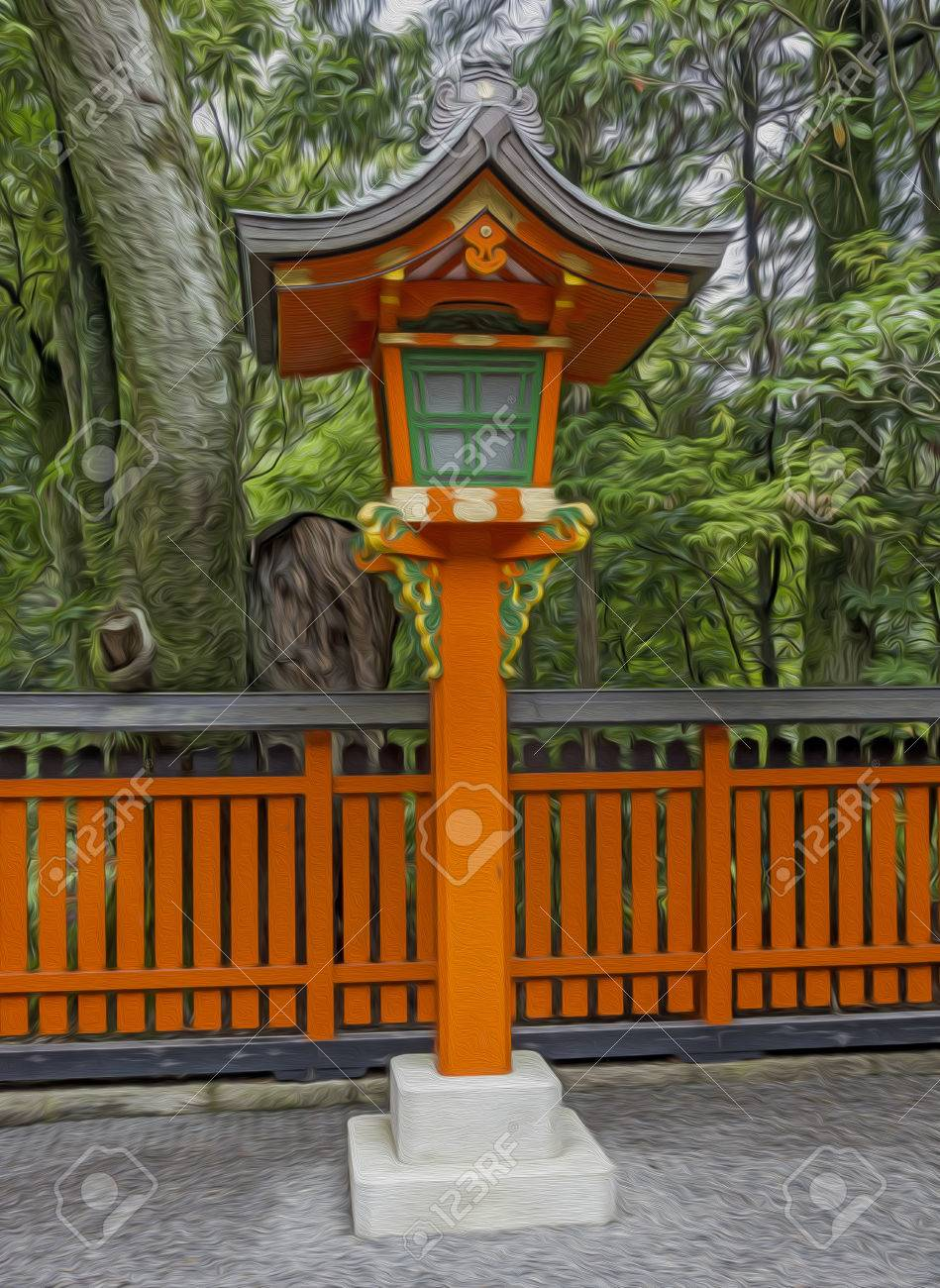 Ornamental Orange Wooden Lantern At A Japanese Shinto Shrine Stock Photo Picture And Royalty Free Image Image 29032123